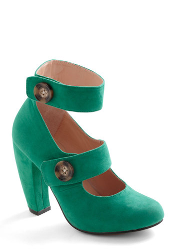 Can I Call You? Heel - Green, Solid, Buttons, High