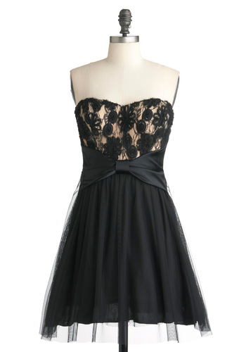 Fanciful Attention Dress - Black, Gold, Floral, Bows, Empire, Strapless, Mid-length, Solid, Flower, Lace, Prom, A-line, Cocktail, Holiday Party, Sweetheart