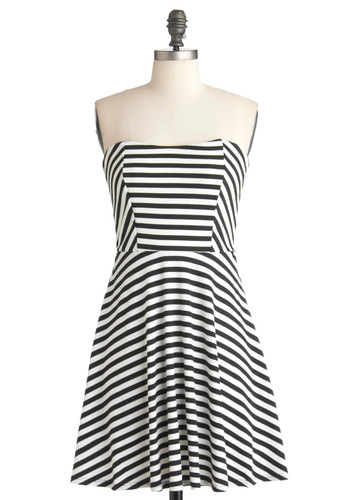 Any Color Will Do Dress - Black, White, Stripes, Casual, A-line, Strapless, Summer, Mid-length, Sweetheart