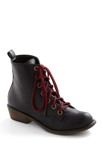 Get the Word Out Boot - Black, Red, Solid, Low, Lace Up, Yellow, Casual, Fall, Steampunk, Faux Leather