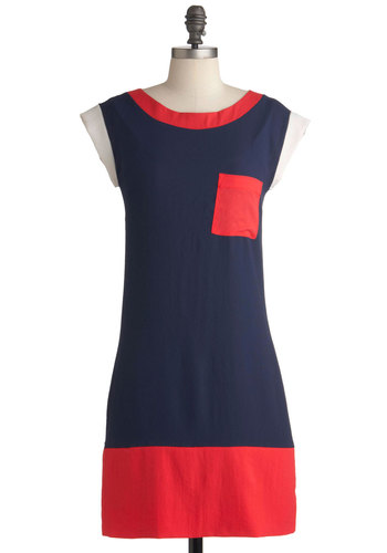 Colorblocks of Time Dress - Blue, Red, White, Pockets, Casual, Cap Sleeves, Mid-length, Exposed zipper, Sheath / Shift, Nautical, Colorblocking