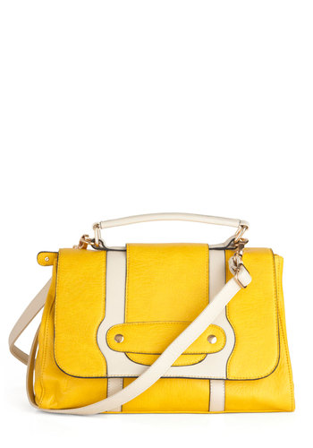 Set High Golds Bag - Yellow, Tan / Cream, Studs, Casual, Colorblocking, Scholastic/Collegiate, Faux Leather