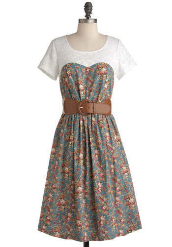 A Tearose for Two Dress - Long, Multi, Floral, Lace, A-line, Short Sleeves, Spring, Belted, White, Casual, Top Rated
