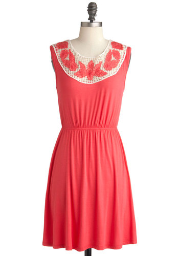 Go for the Pergola Dress - Mid-length, Red, Solid, Crochet, Embroidery, Casual, A-line, Sleeveless, Summer, Jersey, Coral