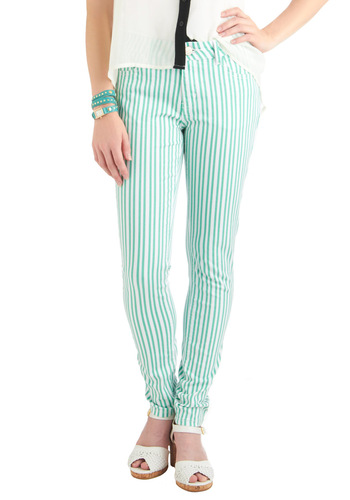 Linear Monologue Jeans - White, Stripes, Pockets, Casual, Green, Spring, Long, Denim