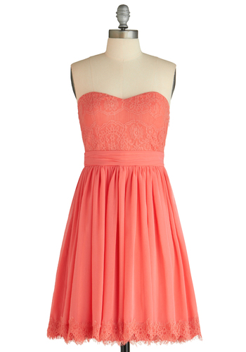 Chic My Name Dress - Lace, Strapless, Summer, Wedding, Solid, Trim, Coral, Mid-length, Sweetheart, Daytime Party, Bridesmaid, A-line, Prom