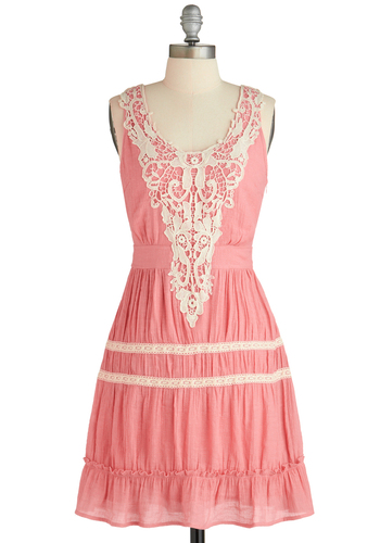 Strawberries and Boheme Dress - Mid-length, Pink, White, Solid, Lace, Ruffles, Casual, A-line, Tank top (2 thick straps), Spring