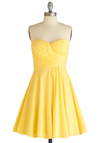 Step Into the Bright Dress - Yellow, Pleats, Party, Strapless, Summer, Fit & Flare, Wedding, Solid, Mid-length, Sweetheart