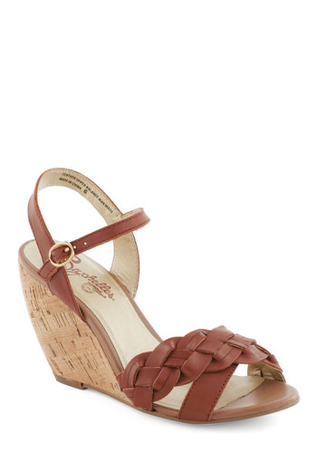 Kill 'Em with Kindness Wedge in Caramel by Seychelles - Brown, Braided, High, Better, Wedge, Solid, Casual, Summer