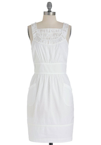 Plenty by Tracy Reese Sand Dune Fence Dress by Plenty by Tracy Reese - White, Pockets, Casual, Sheath / Shift, Sleeveless, Summer, Wedding, Mid-length