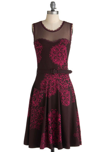 Blogging Molly Dress in Damask by Effie's Heart - Long, Print, Pockets, Party, A-line, Sleeveless, Belted, Pink, Black, Steampunk, Sheer, Cotton, Fit & Flare, Sweetheart