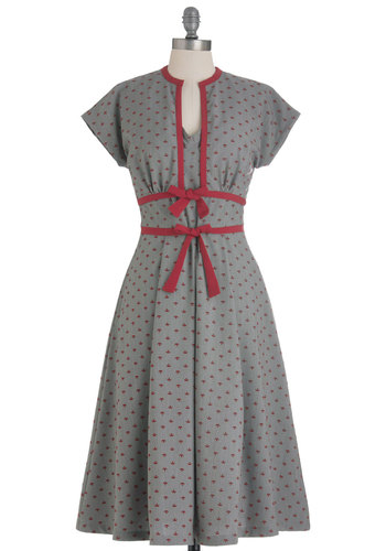 Social Savant Dress by Bettie Page - Grey, Red, Bows, Pleats, Pockets, Fit & Flare, Vintage Inspired, 50s, Spaghetti Straps, Long, Pinup, Work