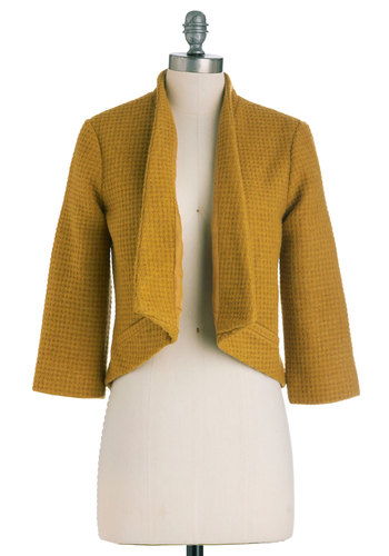 Merger, She Wrote Blazer by BB Dakota - Short, Yellow, Solid, Pockets, Menswear Inspired, Long Sleeve, Work, 1