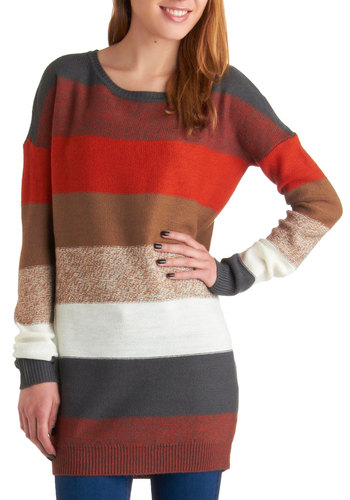On the Horizon Line Sweater by Jack by BB Dakota - Long, Multi, Red, Brown, Grey, White, Stripes, Casual, Long Sleeve, Fall, Rustic, Multi, Long Sleeve