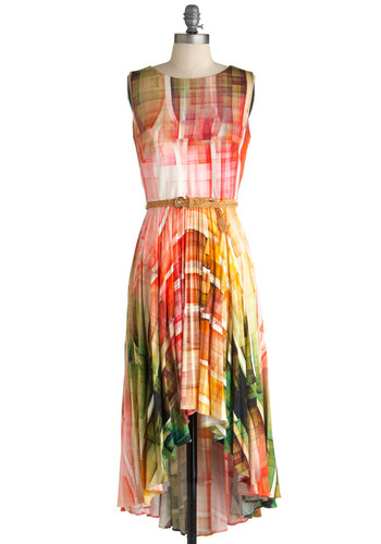 Palette Painting Dress - Mid-length, Multi, Print, Pleats, Sleeveless, Belted, High-Low Hem, Red, Orange, Yellow, Green, Blue, Jersey, Daytime Party