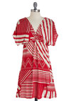 Visual Virtuoso Dress - Short, Red, White, Print, Casual, Empire, Short Sleeves, Summer, V Neck