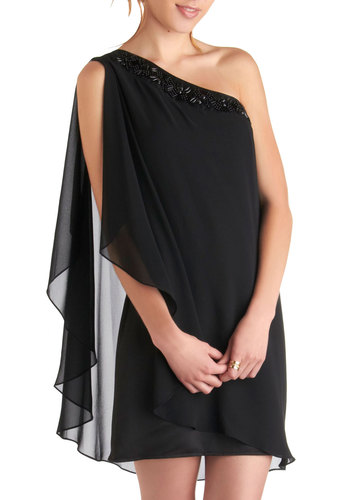 As the Evening Cascades Dress - Mid-length, Black, Solid, Beads, Party, Shift, One Shoulder, Special Occasion