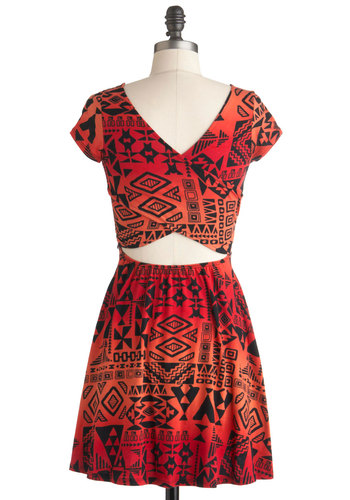 Geometric Caching Dress - Short, Black, Print, Cutout, Casual, A-line, Cap Sleeves, Red, Orange