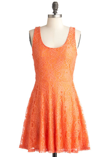 Brighten Up the Boardwalk Dress - Mid-length, Orange, Lace, Party, A-line, Tank top (2 thick straps), Summer, Solid, Scoop