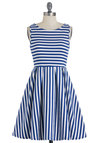 What's the Lineup? Dress in Cobalt - White, Stripes, Casual, Sleeveless, Pleats, Mid-length, Blue, Fit & Flare, Nautical