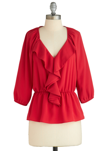 Sample 1906 - Red, Solid, Ruffles, Long Sleeve