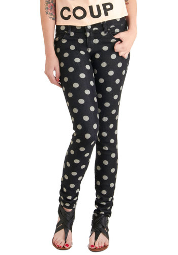 Dot the Difference Jeans - Blue, White, Polka Dots, Pockets, Casual, Skinny, Statement, Long, Denim