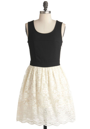 Romance at the Ballet Dress - Mid-length, Black, White, Solid, Lace, Party, Twofer, Scallops, Tank top (2 thick straps)