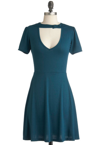 Exhilarating Evening Dress - Short, Blue, Solid, Cutout, Casual, A-line, Short Sleeves, Vintage Inspired, Pinup, Exclusives, 60s