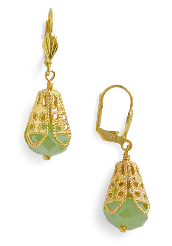 I Dew Earrings by Sweet Evie - Beads, Gold, Green