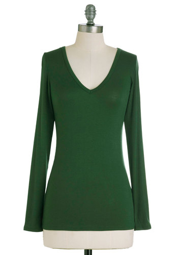 Classic Comfort Top - Green, Solid, Casual, Long Sleeve, Mid-length, Jersey, V Neck
