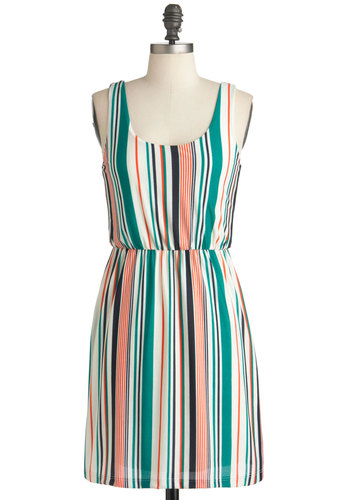 Blue Ribbon Candy Dress - Short, Multi, Orange, Green, Blue, Multi, Stripes, Casual, Shift, Tank top (2 thick straps), Summer