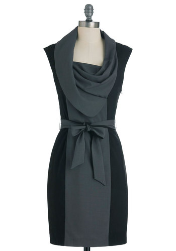 New Hire and Higher Dress in Greyscale - Grey, Work, Shift, Belted, Exclusives, Black, Cap Sleeves, Cowl, Mid-length