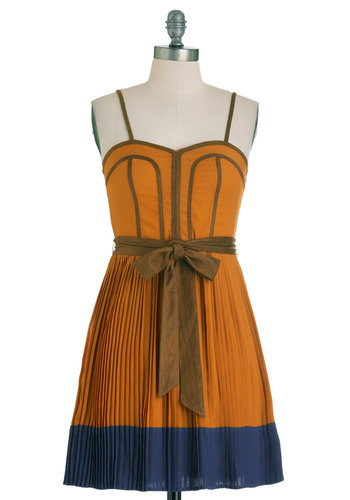 Heart of Goldenrod Dress - Short, Orange, Blue, Pleats, Party, A-line, Spaghetti Straps, Belted, Sweetheart, Tis the Season Sale