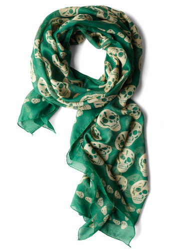 Grin and Wear It Scarf - Green, Novelty Print, Casual, Urban, Tan / Cream