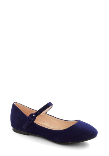 Midnight Clear Flats - Blue, Solid, Flat, Mary Jane, Casual