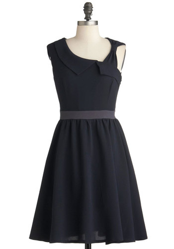 Subtle Stunner Dress - Mid-length, Blue, Grey, Solid, Wedding, Party, A-line, One Shoulder, Exclusives, Cocktail, Fit & Flare