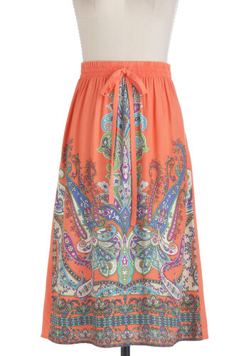 Poetry Festival Skirt - Long, Orange, Green, Blue, Paisley, Casual, Multi, Purple, Boho, Summer, Tis the Season Sale