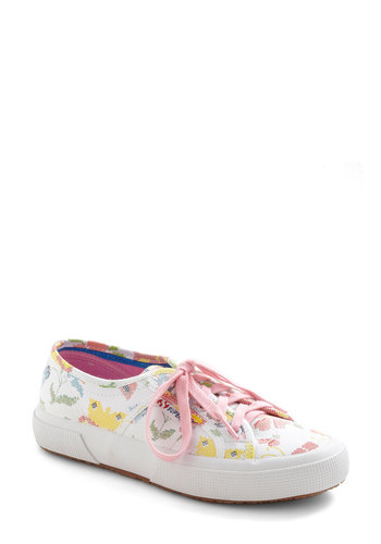 You Got What I Needlepoint Flat - White, Multi, Floral, Casual, Multi, Embroidery, Lace Up, Flat, Tis the Season Sale