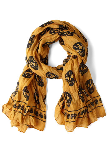 Hues Your Noggin Scarf - Yellow, Black, Novelty Print, Casual, Urban