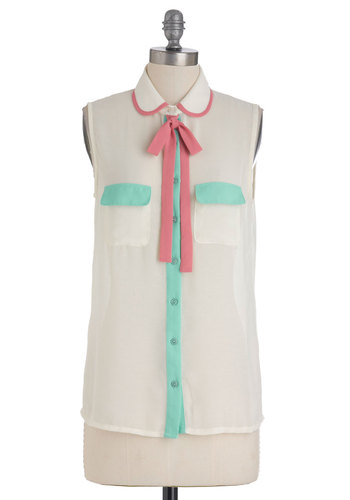 Mastering Pastels Top - White, Blue, Pink, Buttons, Pockets, Casual, Sleeveless, Tie Neck, Peter Pan Collar, Spring, Mid-length