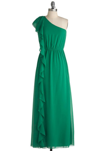 By the Fountain Dress - Green, Solid, Ruffles, Party, Maxi, One Shoulder, Long, Formal, Wedding
