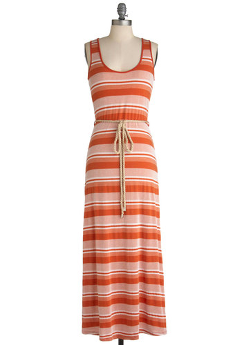 Dockside Date Dress - White, Stripes, Casual, Maxi, Racerback, Summer, Orange, Belted, Beach/Resort, Scoop, Long, Boho