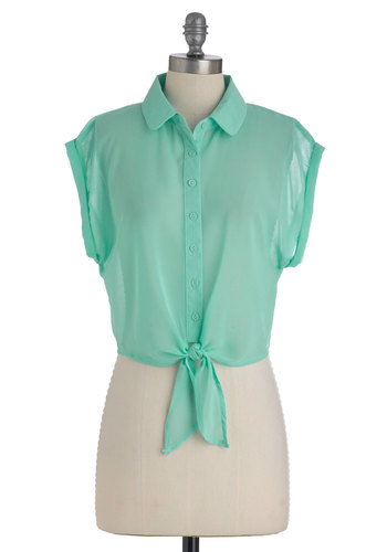 Outdoor Voice Top in Garden - Green, Solid, Buttons, Casual, Short Sleeves, Spring, Short, Pastel, Sheer, Mint, Button Down, Collared, Cropped