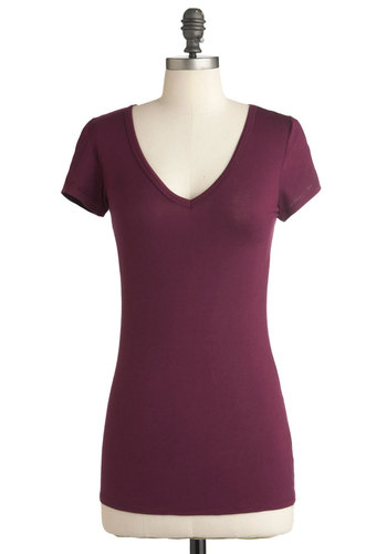 Do Me a Solid Top in Plum - Purple, Solid, Casual, Short Sleeves, Mid-length, Jersey, V Neck
