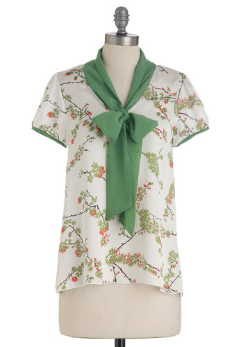 Cheery Blossom Top - Mid-length, White, Red, Green, Floral, Casual, Short Sleeves, Tie Neck