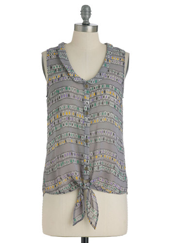 Drop to It Top - Mid-length, Grey, Print, Buttons, Casual, Sleeveless, Multi, Multi, Peter Pan Collar, Summer, Sheer, Button Down, Collared