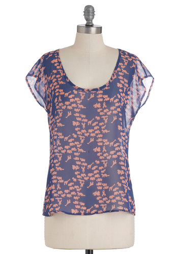 Field Trip Top - Blue, Casual, Short Sleeves, Sheer, Orange, Print with Animals, Safari, Mid-length