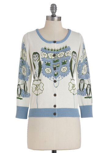 Barn This Way Cardigan in White by Knitted Dove - Short, White, Green, Blue, Buttons, Owls, 3/4 Sleeve, Print with Animals, Casual, Cotton, Button Down, Quirky, Tis the Season Sale