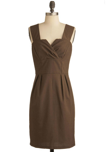 Luck Wood Have It Dress - Mid-length, Brown, Solid, Work, Shift, Sleeveless, Scholastic/Collegiate