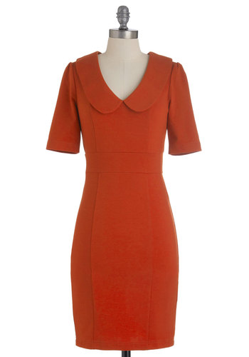 Hold, Please Dress in Deep Rust - Mid-length, Orange, Solid, Peter Pan Collar, Work, Sheath / Shift, Fall, Vintage Inspired, 60s, Short Sleeves